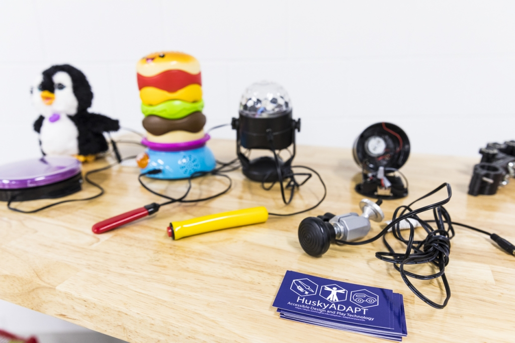 Toys adapted by HuskyADAPT for children with disabilities