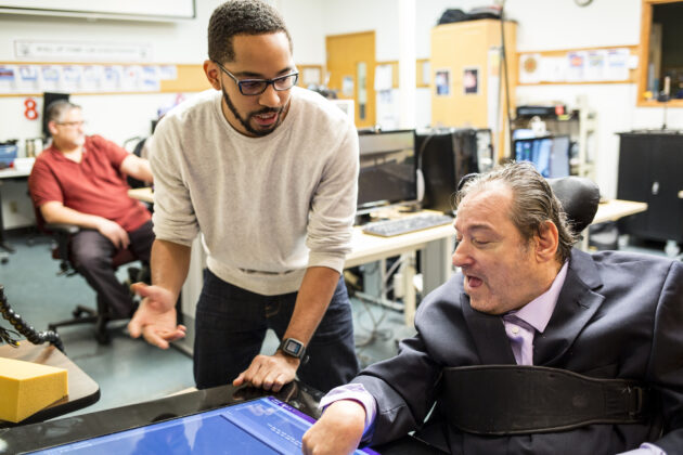 UW iSchool Ph.D. candidate Martez Mott works on Smart Touch technology with Ken Frye at Provail