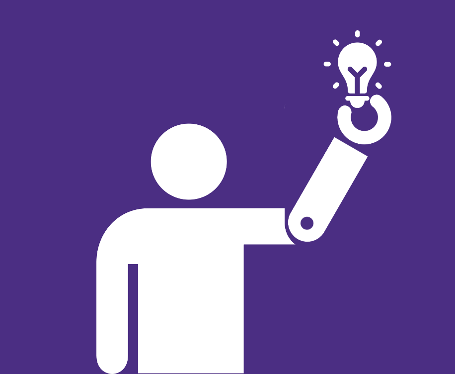 icon of human with prosthetic arm holding a lightbulb