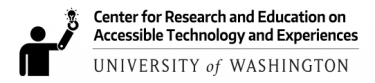 Logo for CREATE, the Center for Research and Education on Accessible Technology and Experiences at the University of Washington. Icon is a person with a prosthetic arm holding a lightbulb.