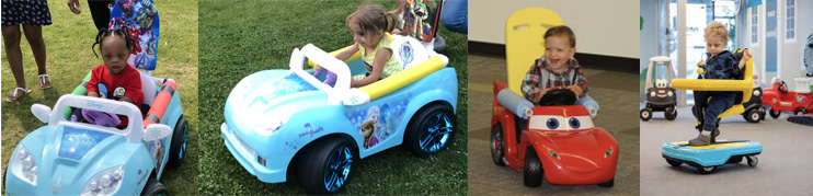 Collage of four young children riding on commercial and DIY powered mobility technologies, including the Permobil® Explorer Mini and modified Go Baby Go  ride-on toy cars