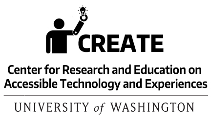 link to a downloadable CREATE logo with the CREATE icon of a person with a prosthetic arm holding a lightbulb with the CREATE acronym and name, Center for Research and Education on Accessible Technology and Experiences