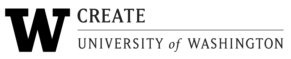 CREATE logo. Black over transparent background. UW 'W' and CREATE in block letters. University of Washington.