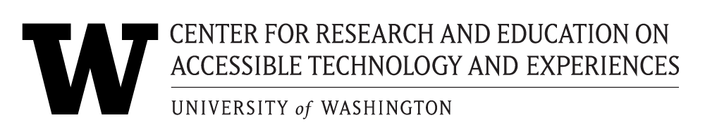 CREATE logo, full text version. Black over transparent background. UW 'W' and Center for Research and Education on Accessible Technology and Experiences. University of Washington.