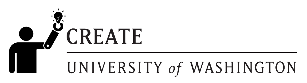 CREATE logo black over transparent background. Person with a prosthetic arm holding a lightbulb, CREATE in block letters. University of Washington.