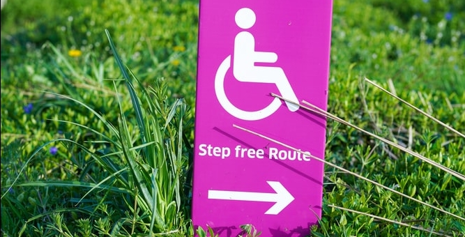 A bright pink placard with a wheelchair user icon and the words Step Free Route planted in bright green grass