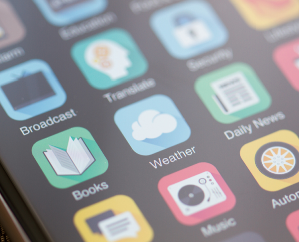 iStockPhoto image of several generic application icons such as weather, books, music, etc.