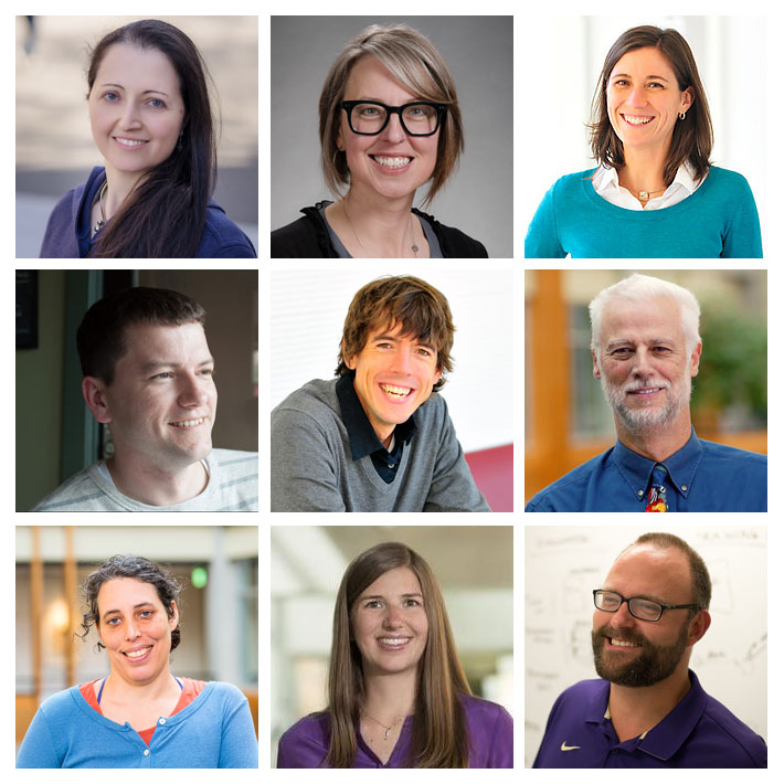 Composite photo of CREATE directors. Top row: Anat Caspi, Director for Translation; Heather Feldner, Associate Director; Leah Findlater, Associate Director. Middle row: James A. Fogarty, Associate Director; Jon Froehlich, Associate Director; Richard Ladner, Director for Education. Bottom row: Jennifer Mankoff, Founding Co-Director; Kat Steele, Associate Director; Jacob O. Wobbrock, Founding Co-Director.