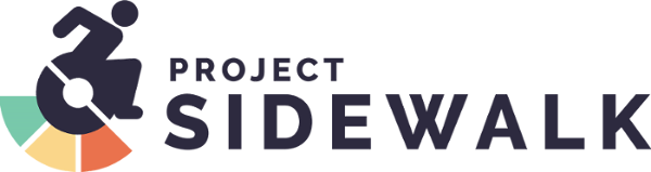 Project Sidewalk Logo | accessibility icon with green, yellow, red under the wheel