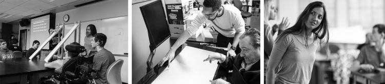A black and white collage of UW students working with adults with various mobility and communication disabilities to develop tools to improve their function.